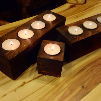 Candle holder gift set, Wood Candle Holder, Rustic Candle Holder