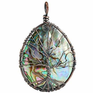 SUNYIK Abalone Shell Tree of Life Pendant,Necklaces for Women,Copper Wire Wrapped Jewelry,Assorted Shapes