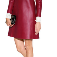 Valentino - Leather Dress with Lace Bib