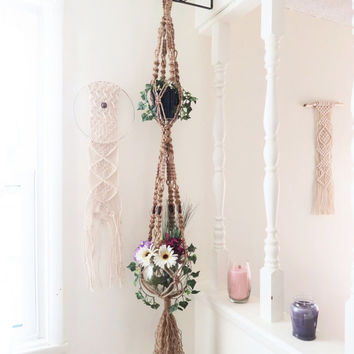 "Double macrame plant hanger, natural jute plant hanger, 6 ply jute, 60"", 4 wood beads, 2 tier, jute pot holder, hippie, hippy, 70s, gift"