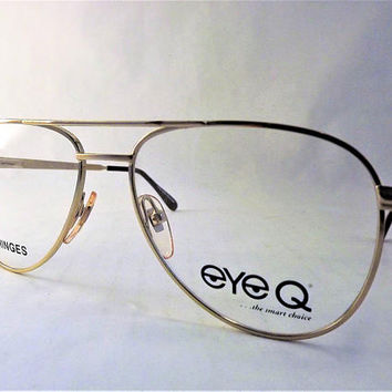 Mens Gold Aviator Eyeglasses, Vintage New Old Stock Metal Frames with Flexible Hinge Temple Arms, Pilot Glasses, Mod Double Bridge Glasses