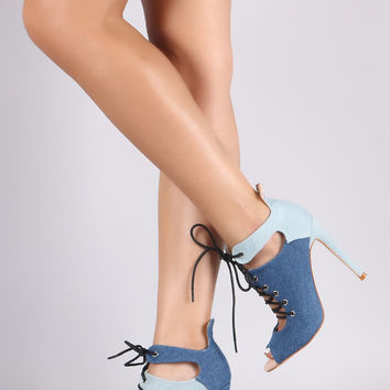 Colorblock Mismatch Cutout Lace-Up Booties | UrbanOG
