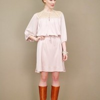 Rose taupe crochet vintage dress with delicate crocheted yoke | shopcuffs.com