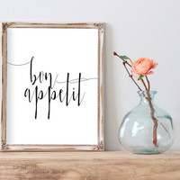 Bon Appetit Print Printable Wall Art Typography Quote Kitchen Art French Quote Typography Print Digital Download Home Decor INSTANT DOWNLOAD