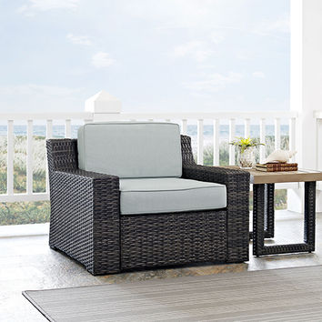Beaufort Arm Chair With Mist Cushion Crosley Furniture Arm Chairs Patio Chairs