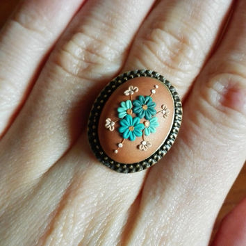 Vintage Polymer Clay Ring, Floral Pattern, Applique, Seagreen, Bronze and Gold, Oval Bronze Setting, Fall Jewelry, Green and Blue, Filigree