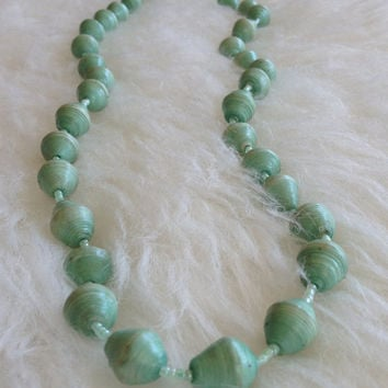 Free US Shipping - Vintage Handmade Paper Bead Necklace - Hand Rolled, Sea Green, Teal, 50s, 60s, Retro, Paper Beads, Bohemian, African Type