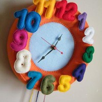 Children Wall Felt Clock Round Orange by evgie on Etsy