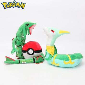 3Styles Pokemon Plush Rayquaza Dragon Serperior PokeBall Plush Stuffed Animal Dolls Pokemon Toys