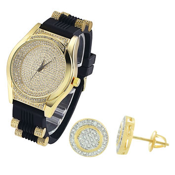 Men's Oval Shape Lab Diamonds Iced Out Silicone Strap Watch & Earrings Combo Set