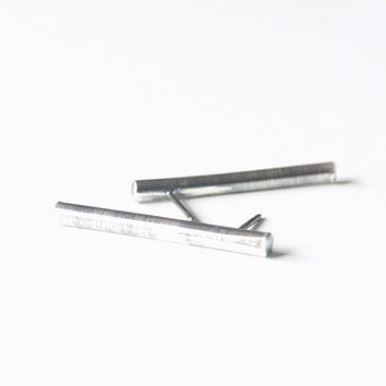Oxidized Sterling Silver Bar Stud Ear Climber Earrings - 1 inch long