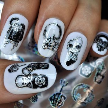 Punk Style Zombie Love Nail Art Foil Stickers Glue Transfer Cute Skull Head New SY678