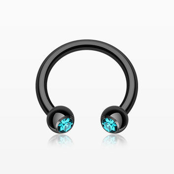 Blackline PVD Gem Ball Horseshoe Circular Barbell