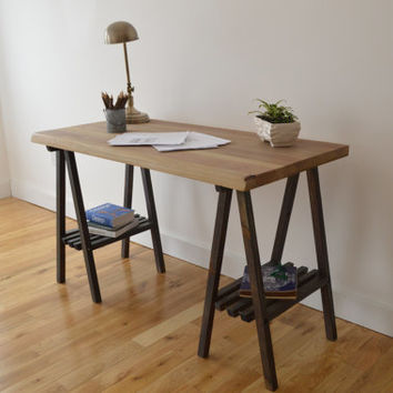 Reclaimed Wood Desk with A Frame Legs - Oxidized Top with Black Legs || Free Shipping || Baltimore, Recycle