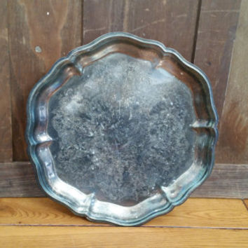 Vintage Round Ornate Silver Plated Footed Silver Toned Tray Perfect for Decor and Entertaining