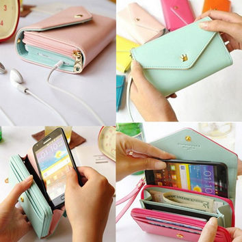 """FLOVEME PU Leather Wallet Universal 5.5"""" Retro Pouch Case For iPhone 7 6 6s Plus 5 SE Samsung Galaxy Note 7 S6 S7 Edge Huawei P8"""