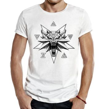 Witcher Medallion Men Tees T-Shirts video game Gaming The Witcher 3 Wild Hunt wolf Logo COOL Casual Fashion Tops T Shirts