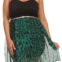Giraffe Print Chiffon Dress - Green - Plus Size