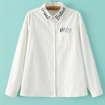 PEAPUF3 Fashion Casual White Long Sleeve Monogram Embroider Contracted T-shirt