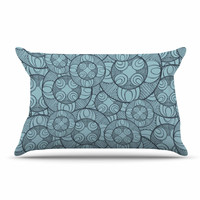 "Maike Thoma ""Layered Circles Design"" Blue Floral Pillow Case"