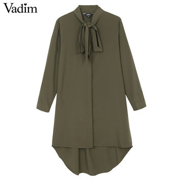 Women army green neck bow tie long shirts stand collar long sleeve loose blouses Blusas Femininas casual bow tie tops LT739
