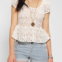 Pins And Needles Cropped Lace Peplum Blouse