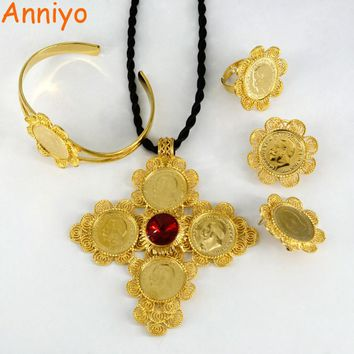 Anniyo Ethiopian Jewelry sets Gold Color Big Coin Cross Pendant/Rope/Earrings/Ring/Bangle Habesha African Wedding Gifts #001716