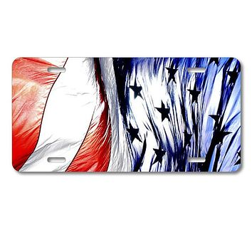 DistinctInk Custom Aluminum Decorative License Plate - Red White Blue United States Flag Waving