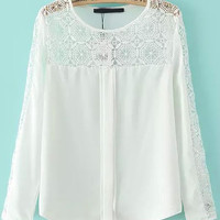White Round Neckline Sheer Lace Blouse