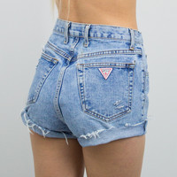 Vintage (Size Small) 80s Distressed Guess High Waisted Denim Shorts