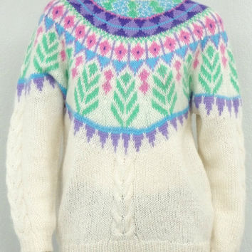 Vintage 80s Off White Icelandic Sweater, Oversized Sweater, Ski Sweater, Wool Sweater, Mohair Sweater, Abstract Sweater, Colorful Sweater