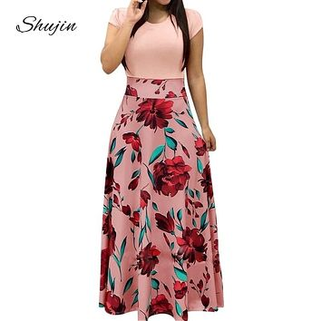 SHUJIN Women Charming Floral Print Summer Patchwork Maxi Dress 2018 Casual Short Sleeve Vintage Boho Beach Long Dress Vestidos