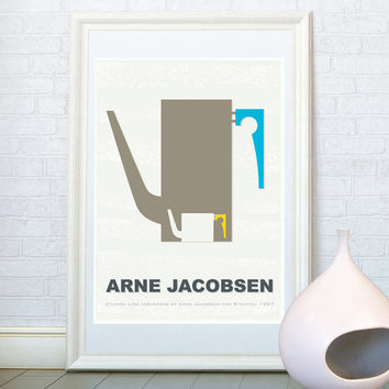 Kitchen art print, Scandinavian design, Arne Jacobsen tableware, Minimalist home decor, Danish designer, Retro poster