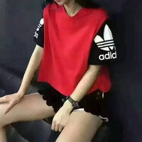 """Adidas"" Fashion Casual Multicolor Clover Letter Print Short Sleeve Sequin Shorts Set Two-Piece Sportswear"