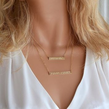 Layered Bar Necklace, Layering Necklace, Personalized Necklace, Custom Bar Necklace, Double Bar, Name Necklace, Mom Necklace Pesronalized