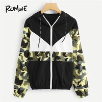 ROMWE Drawstring Colorblock Camo Panel Zip Up Jacket Women Casual 2018 Autumn Clothing Coats Spring Multicolor Sports Outerwear