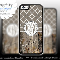 Monogram Iphone 5C case iPhone 5s  iPhone 4 case Ipod 4 5 Touch case Real Tree Camo Brown Teal Quatrefoil Personalized Country Girl
