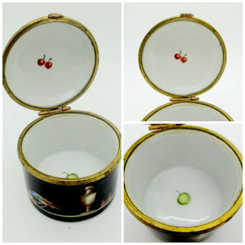 Antique TIFFANY & CO BOX Camille Le Tallec Private Stock Hand Painted Porcelain Limoges France Trinket Box Black Shoulder