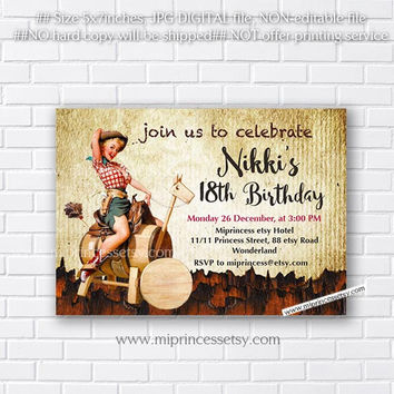 Birthday Invitation for any age,  Vintage Cowgirl design 16th 18th 30th 40th 50th woman birthday retro birthday invitation - card 753