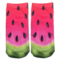 Pink Watermelon Knit Ankle Socks