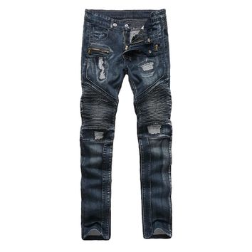 Selling Male Biker faded jeans pockets Torn Hole wash Punk Rock Style Slim Fit Jeans for men motorcycle Patched zipper trousers