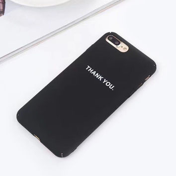 Luxury Hard Frosted Back Cover For iphone 7 Case For iphone 7 6 6s Plus Fashion Letter Phone Cases Coque Fundas Thank You -03129