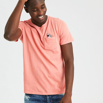 AE Embroidered Pocket T-Shirt, Peach
