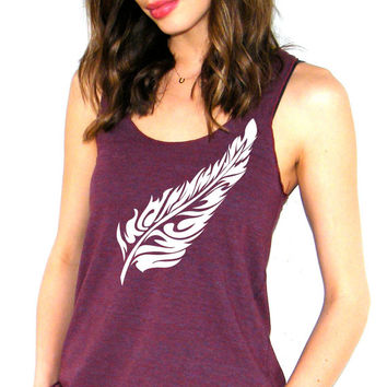 Womens Feather Tank Top - Flow Feather - American Apparel Racerback Tank Top - XS, Small, Medium, Large