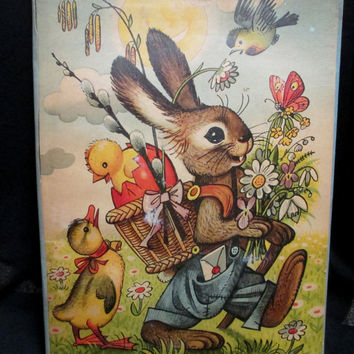 1961 Ricky the Rabbit Pop Up Book Czechoslovakia Vojtech Kubasta  3 D Vintage