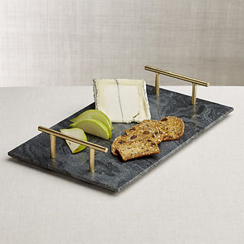 Hayes Marble Serving Board with Handles