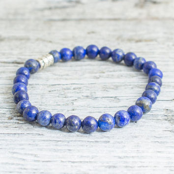 Blue lapis lazuli beaded stretchy bracelet, custom made yoga bracelet, mens bracelet, womens bracelet