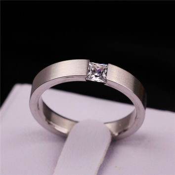 6 AiMeiLai Mode 4mm Stainless Steel Solid Zircon Ring Engagement Wedding Charm Rings Men Women