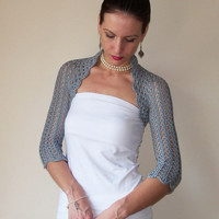 Gray WEDDING BOLERO SHRUG cotton lace crochet bolero jacket