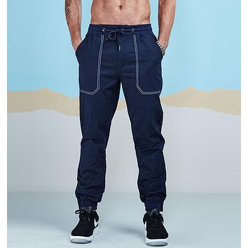 Men Casual Pants Fashion Chino Jogger Pant Man Cotton Fitted Trace Twill Pant Male Straight Tapered Trousers